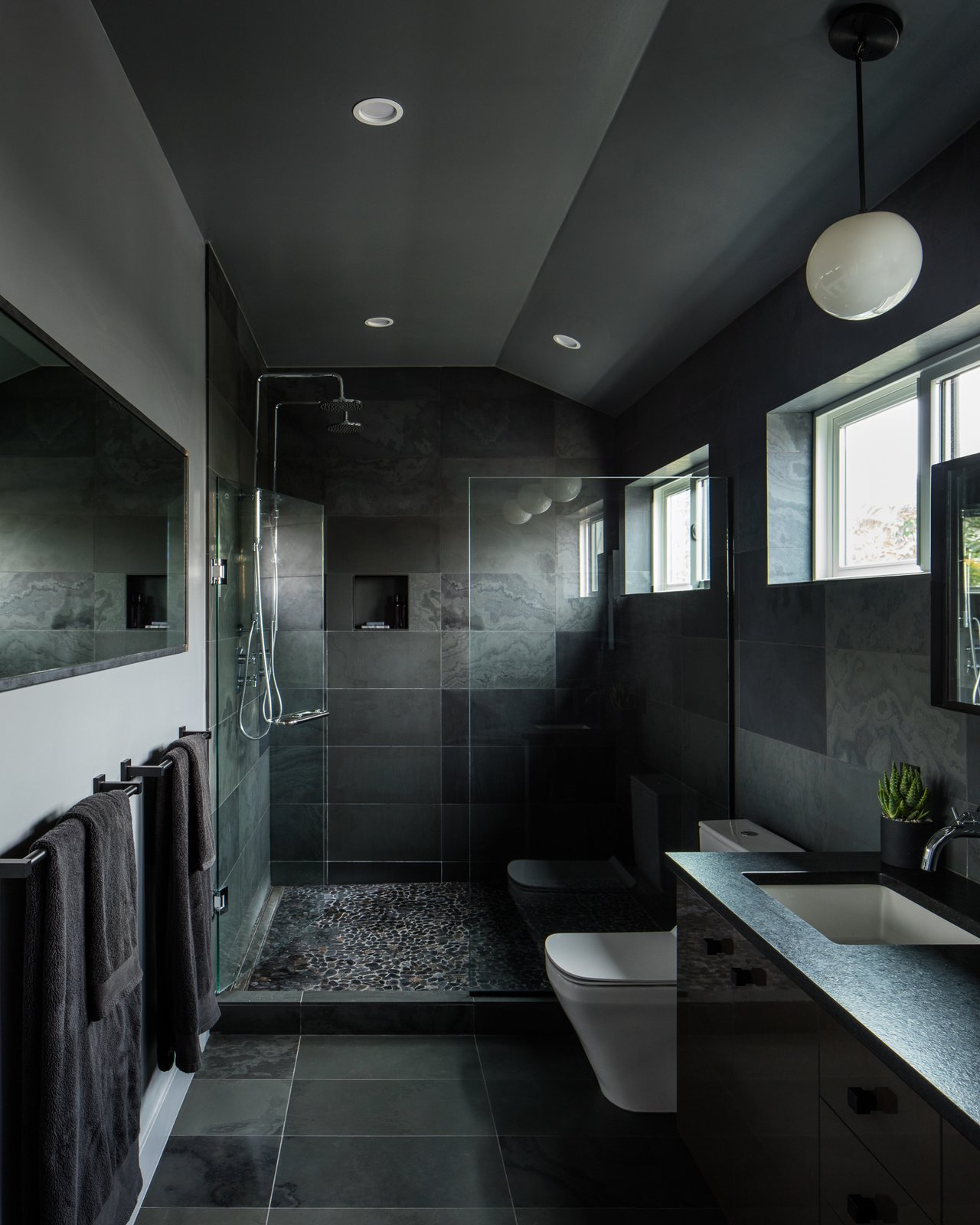 Bath, Engineered Quartz, Ceiling, Pendant, Porcelain Tile, Undermount, Full, Stone Tile, and One Piece Master Bathroom  Best Bath Undermount Full Stone Tile Photos from Lawrence Street Residence