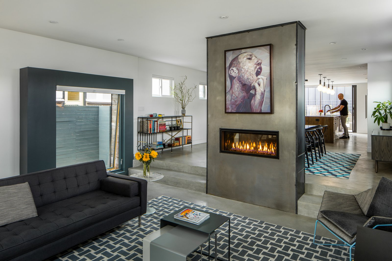 Living, Sofa, Chair, Ceiling, Concrete, and Two-Sided Sunken Living Room with See Thru Fireplace  Best Living Two-Sided Ceiling Photos from Lawrence Street Residence