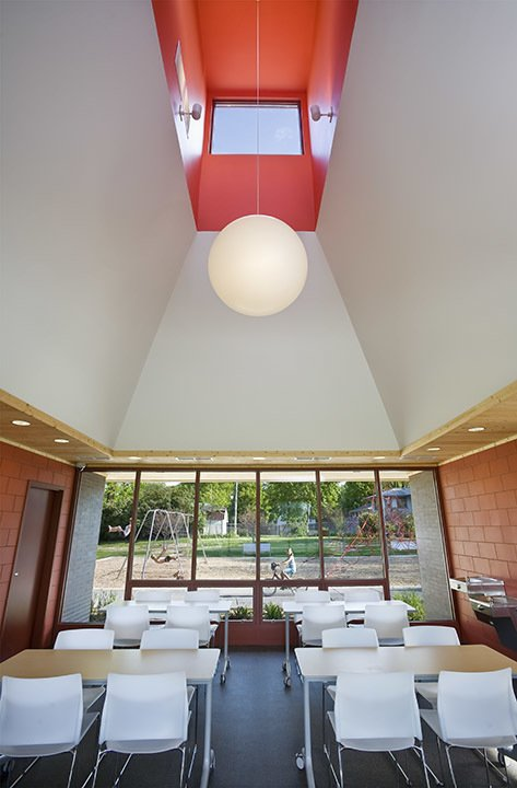 Interior of the park building.  A modern and fresh approach to a small public park in Minnesota.