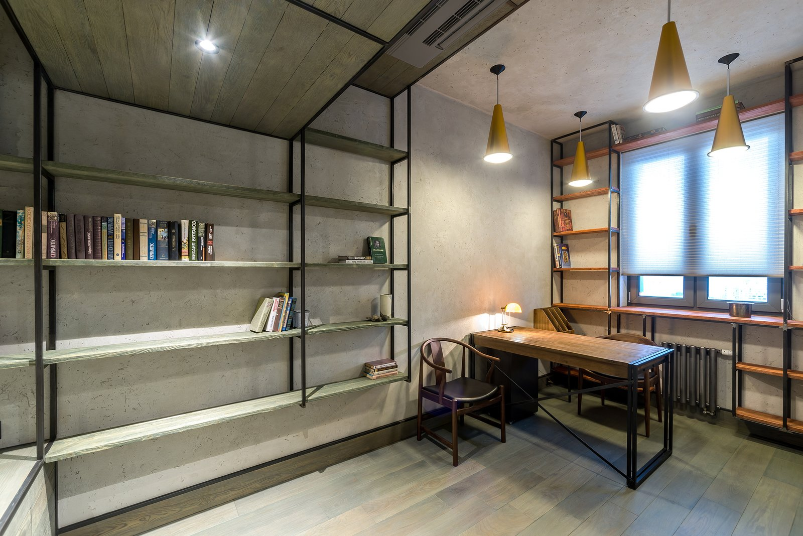 Office, Study, Library, Bookcase, Chair, Lamps, Storage, Shelves, Desk, and Medium Hardwood Office  Best Office Medium Hardwood Storage Photos from INTERIOR IN THE INDUSTRIAL CONSTRUCTION HOUSE
