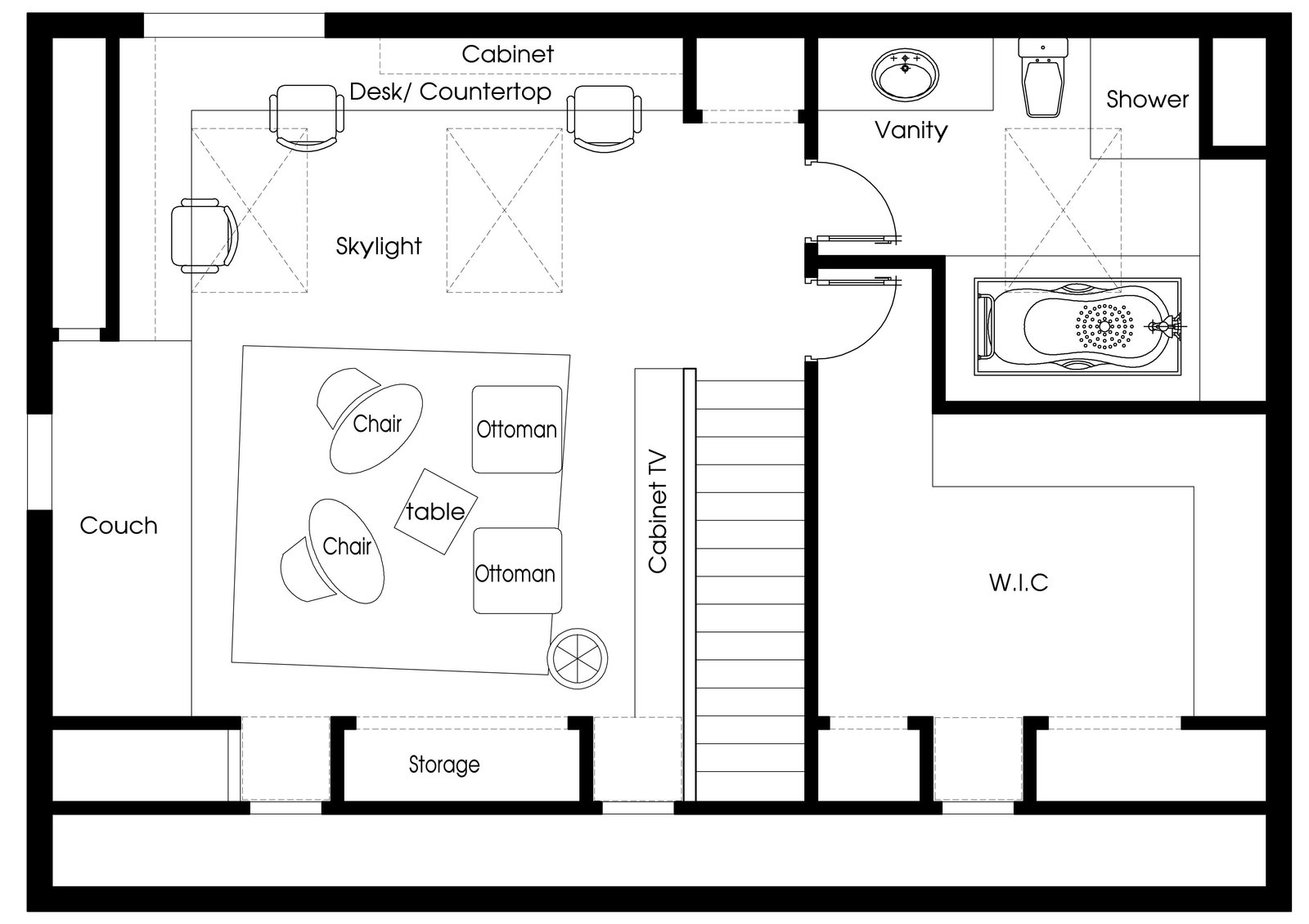 Plan drawing  Inspired Flexible Attic Space