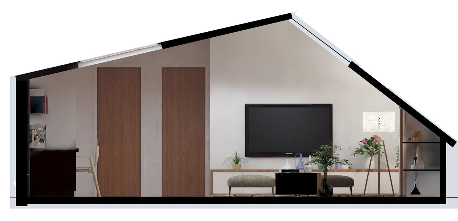 Section view, looking from the couch area  Inspired Flexible Attic Space