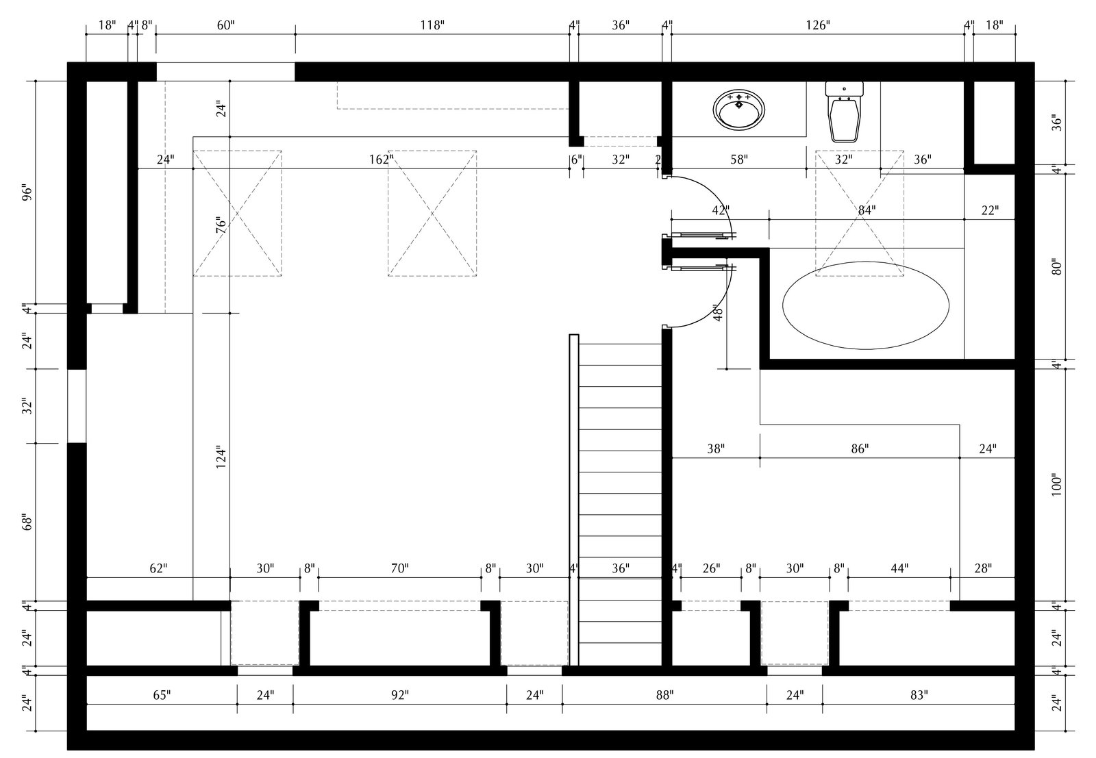 Plan drawing with dimensions  Inspired Flexible Attic Space