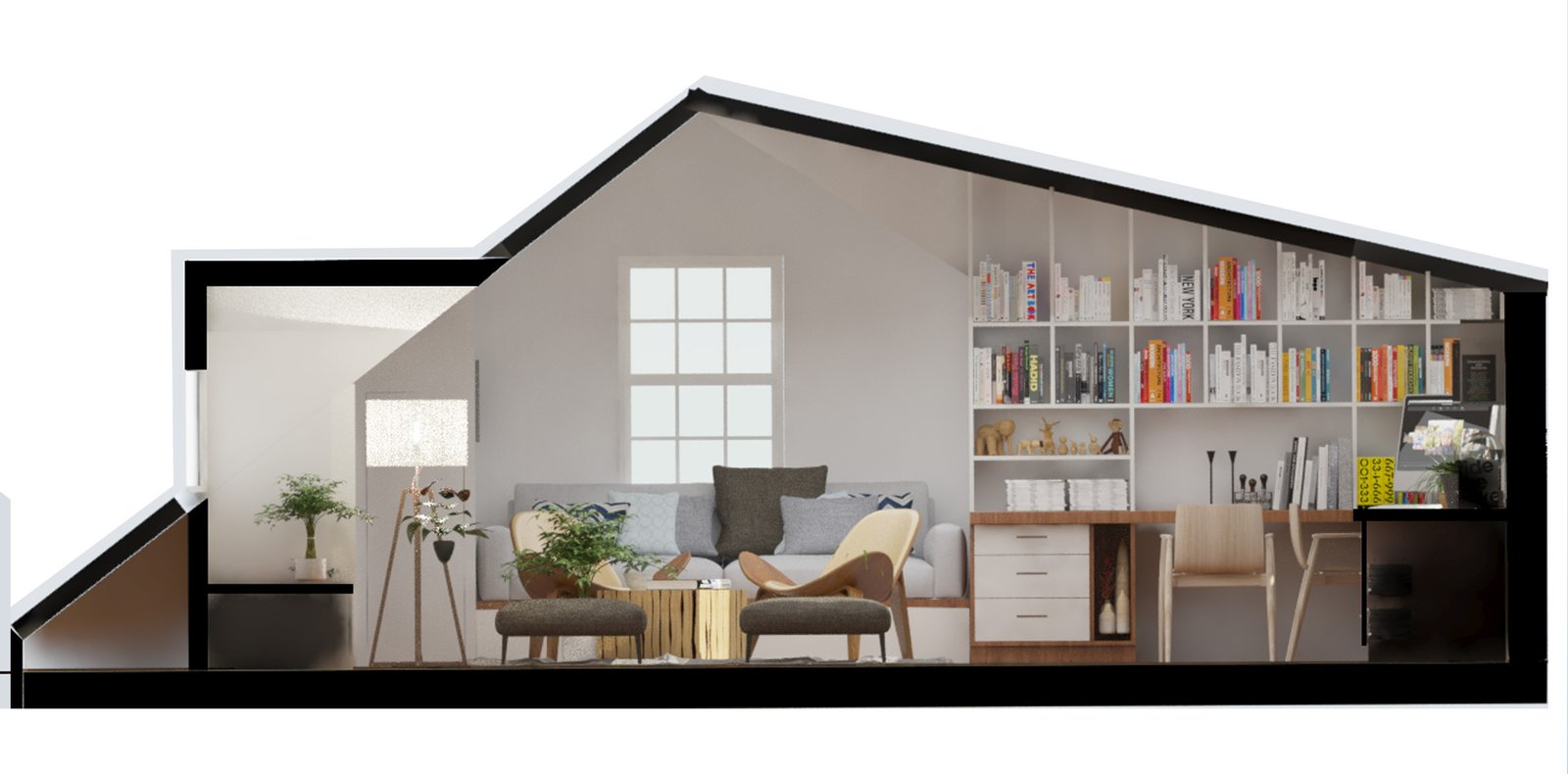 Section view, looking from cabinet  Inspired Flexible Attic Space