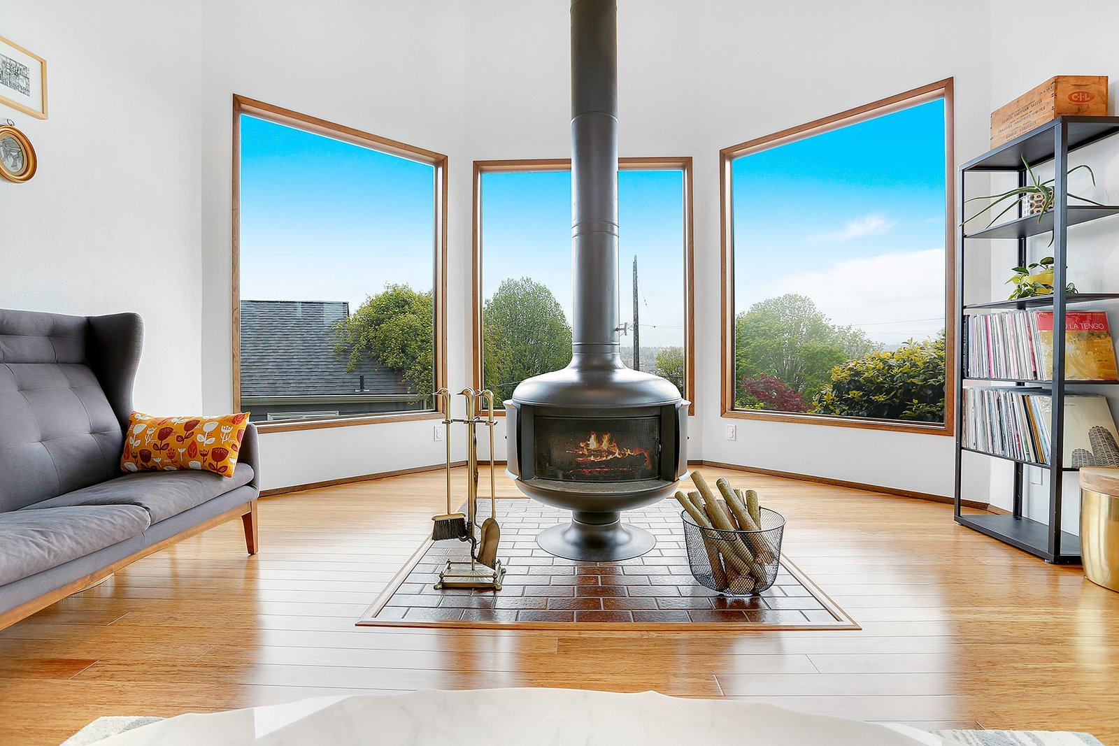 Original drum fireplace and views of shipping canals.  The Monolith
