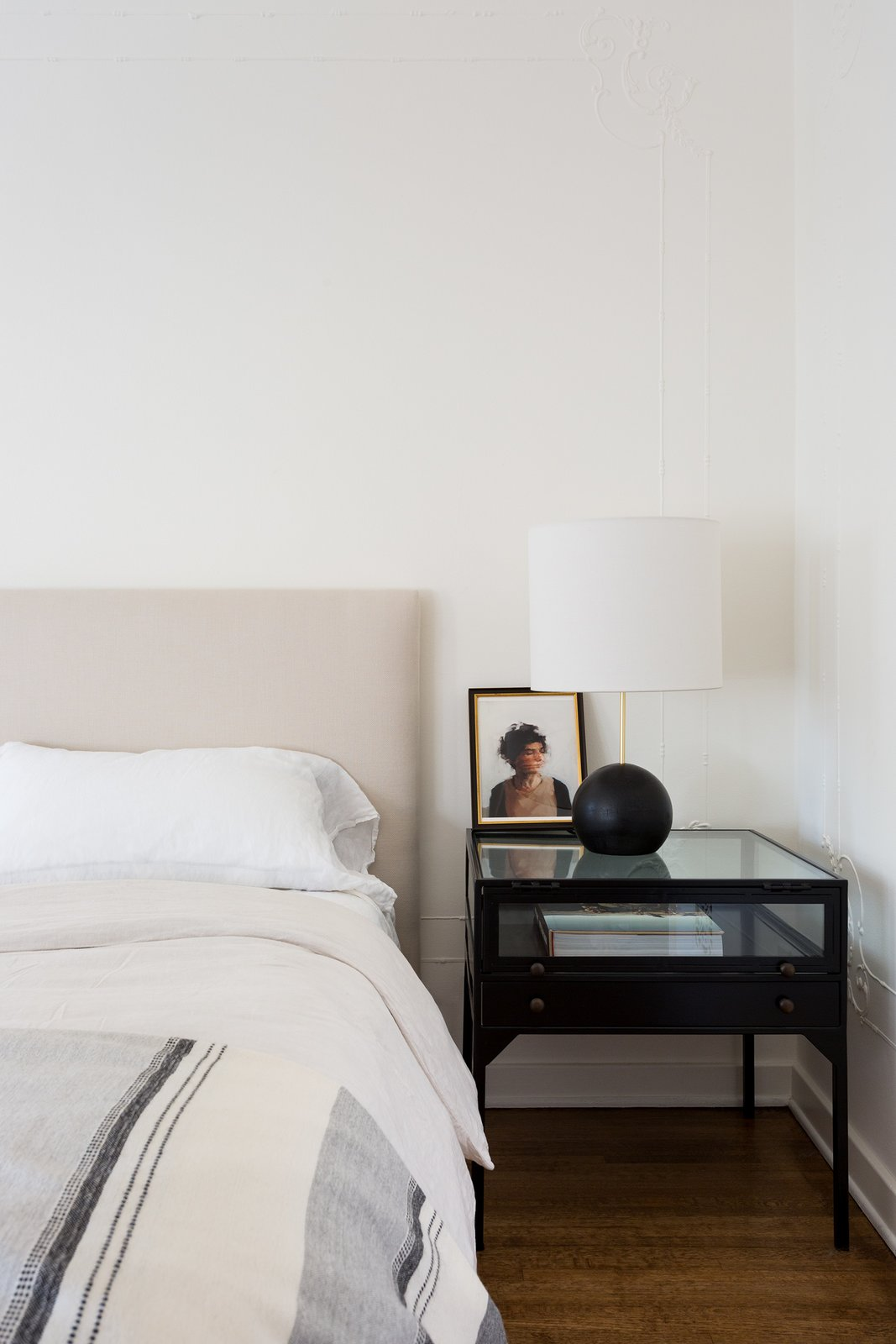 Bedroom, Bed, Table Lighting, Night Stands, and Medium Hardwood Floor Guest bedroom  Dundee Residence by Jette Creative