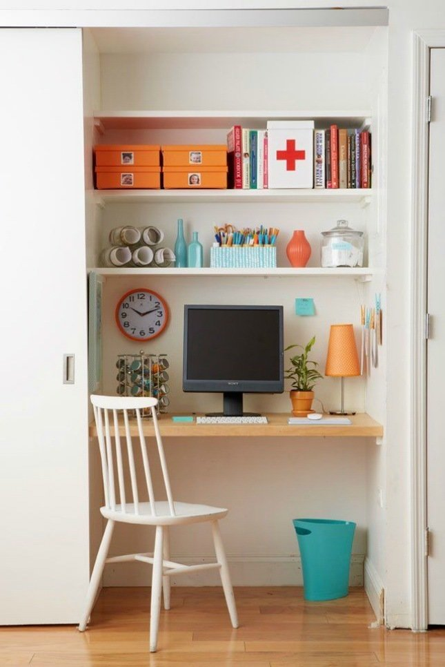 If there is a need for dedicated space for an office or a nursery, consider repurposing a closet. It can always go back to it's previous life later.  Photo 11 of 11 in 10 Ways to Solve Storage Problems in Small Spaces