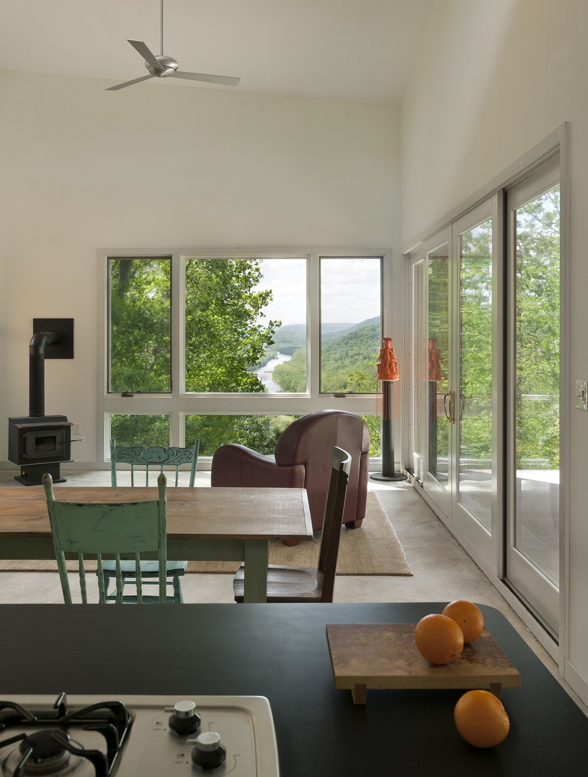 view from the kitchen out to the Potomac River  Ridge House by GriD