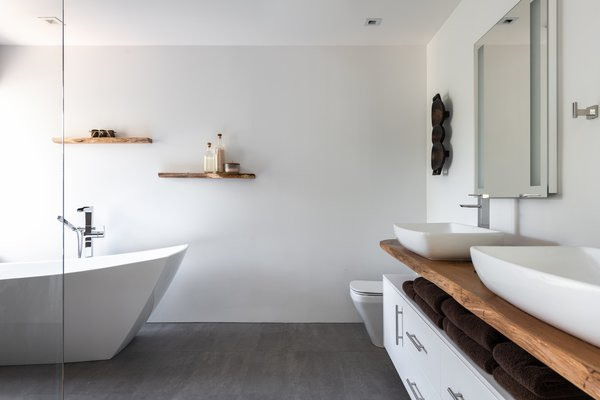 Bath, Recessed, Vessel, Open, Ceramic Tile, Wood, One Piece, Ceiling, Light Hardwood, and Freestanding Master Bathroom  Best Bath Freestanding Vessel Ceramic Tile Photos from Spa Creek House