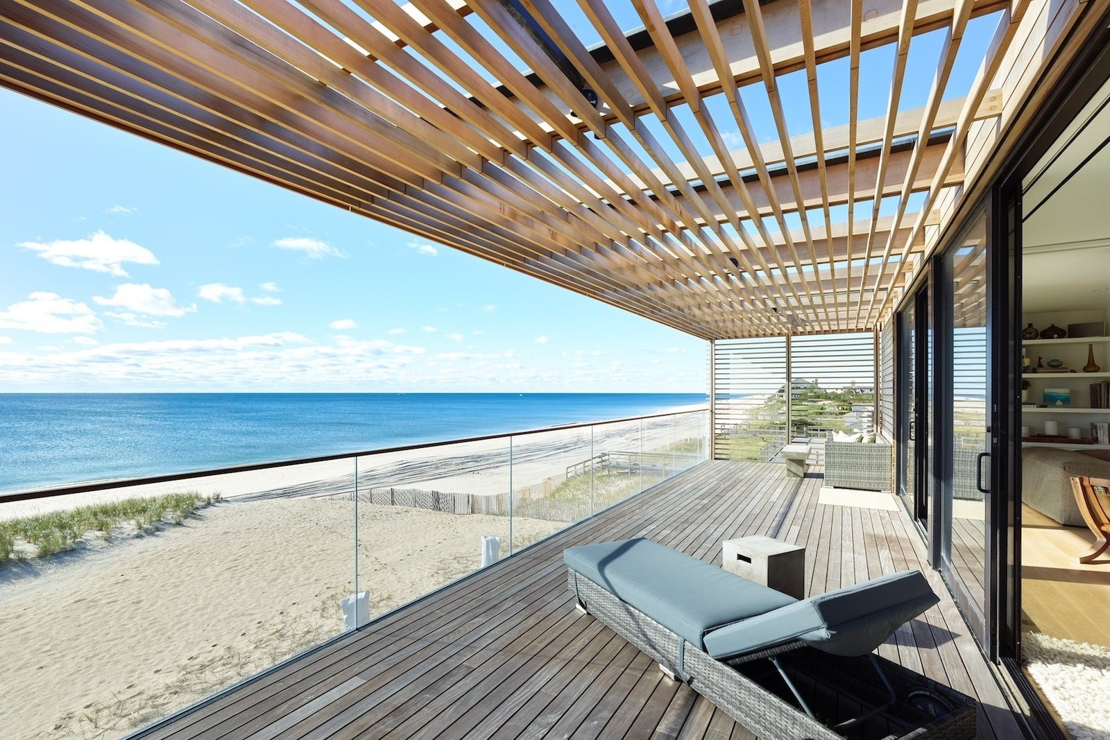 Master bedroom deck  House On The Point by Stelle Lomont Rouhani Architects