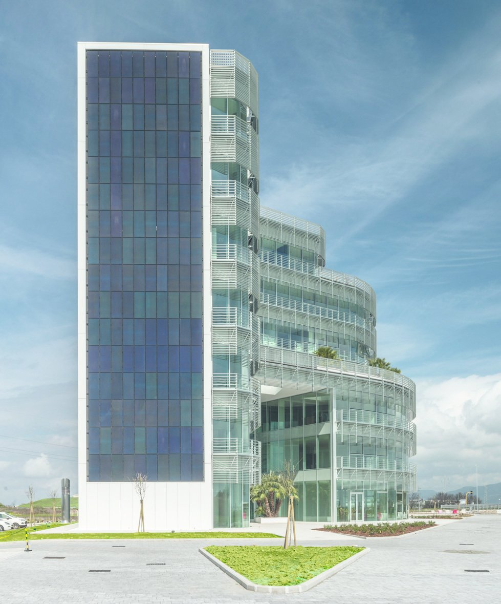 A huge Photovoltaic panels system covers entirely the Southern facade of te building, covering up to 80% of energy demand  Photo 3 of 6 in A near-to-zero-emission, LEED Gold Office Building in Tuscany