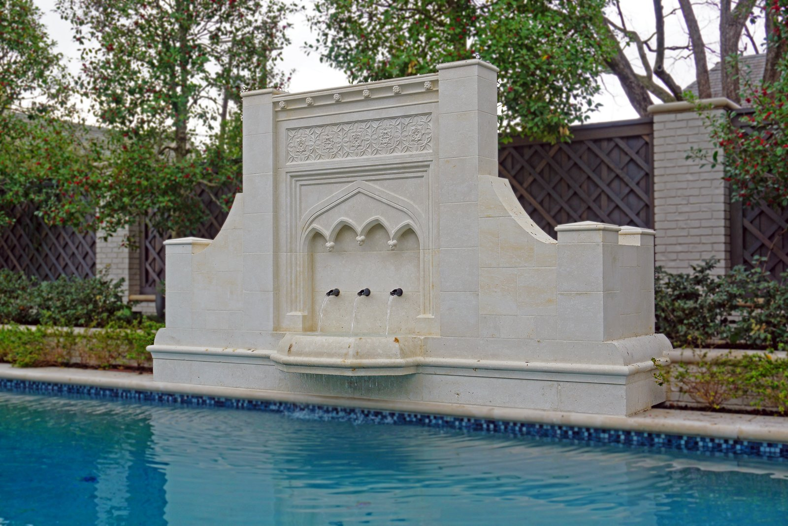 Custom Gothic Pool Fountain Modern Home In Highland Park