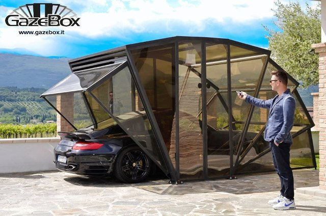 Garage and Detached Garage Room Type Here's something different. GazeBox's special anti-UV polycarbonate panels give protection from the sun, hail, rain, wind, ice, pets and birds.  Photo 10 of 10 in 10 Prefab Garage Solutions For Auto Enthusiasts