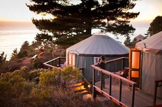 Treebones's yurts have plush, comfortable beds with linens, cozy comforters and colorful quilts. There is a small table & set of chairs, reading lights & plenty of hooks for hanging your gear. There is a sink vanity with hot & cold running water in each yurt with bath & hand towels provided.  The yurts have generous redwood view decks with Adirondack chairs.