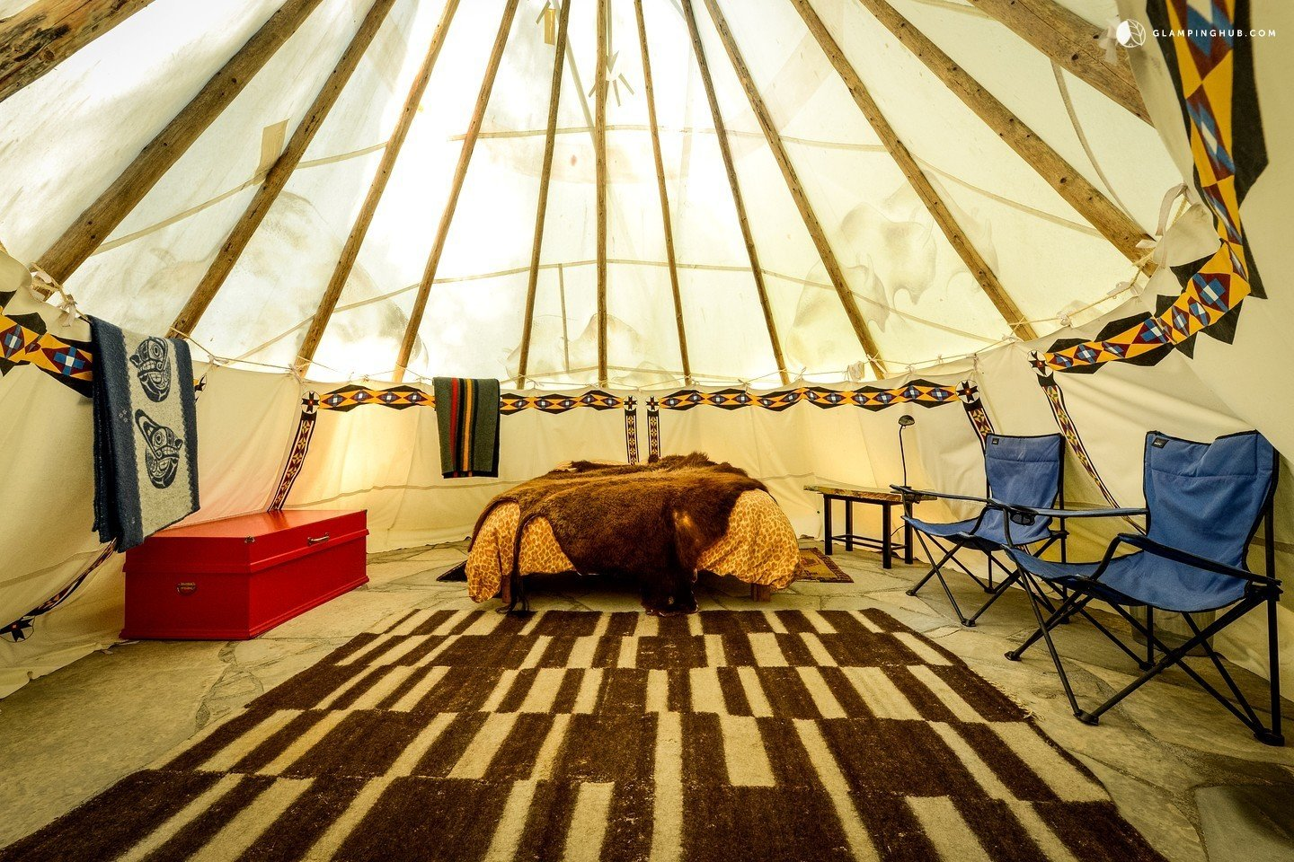 Bedroom, Bed, and Chair These glamour tipis in Oregon have been designed in  Photo 13 of 14 in 12 Terrifically Glamorous Camping Options