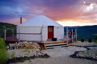 This rustic yurt rental with incredible views near Zion National Park, Utah, can accommodate up to nine guests. For a group of glampers looking for the ultimate Zion experience, this is the place to stay. There are four double beds and three single beds in the yurt.
