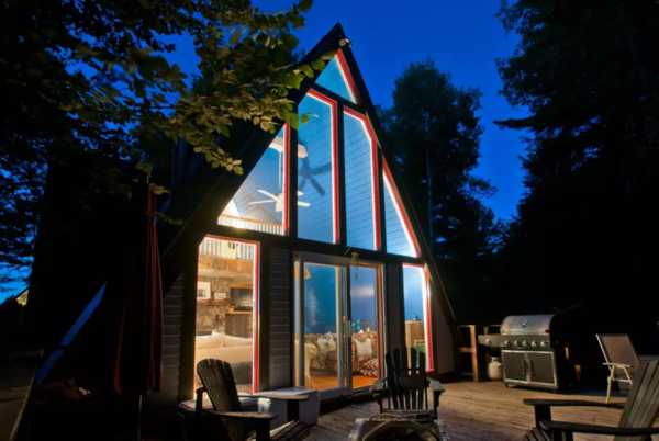 A cozy pet friendly A-frame nestled in the Jay Range with view of Whiteface Mountain. The home features a living room, fireplace, loft bedroom and fully equipped kitchen. With endless activities to choose from, we are located just 10 minutes from Whiteface Mountain and 20 minutes from Lake Placid.