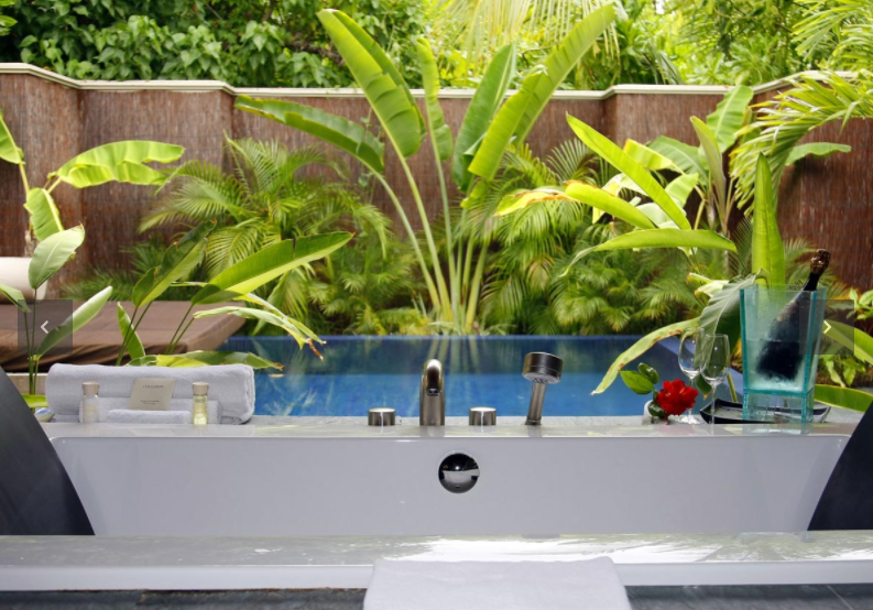Each Beach Pool Villa can accommodate up to three adults or two adults and one child and comes with: Private plunge pool; private deck with loungers and oversized daybed; direct beach access; open-air bathroom with waterfall shower; in-room entertainment system with plasma TV, surround sound and fully loaded iPod; Thakuru—butler service.  Photo 14 of 15 in 14 Really Romantic Island Resort Retreats