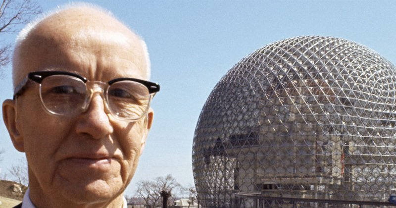 R. Buckminster Fuller in picture with his geodesic home structure