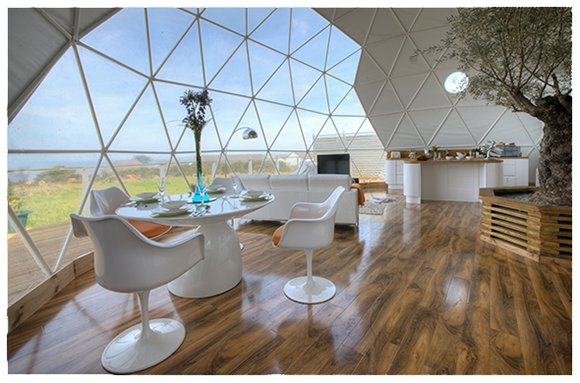geodesic dome home dining and living area