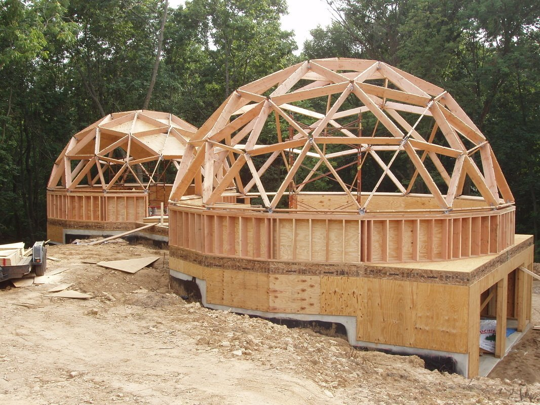 geodesic dome home in construction