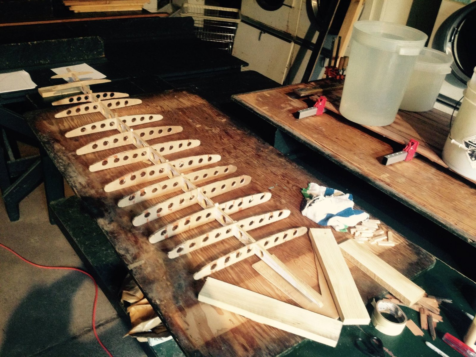Assembling the ribs to the stringer to form the  Photo 9 of 26 in Crafting a Hollow Wood Surfboard from Old-Growth Redwood