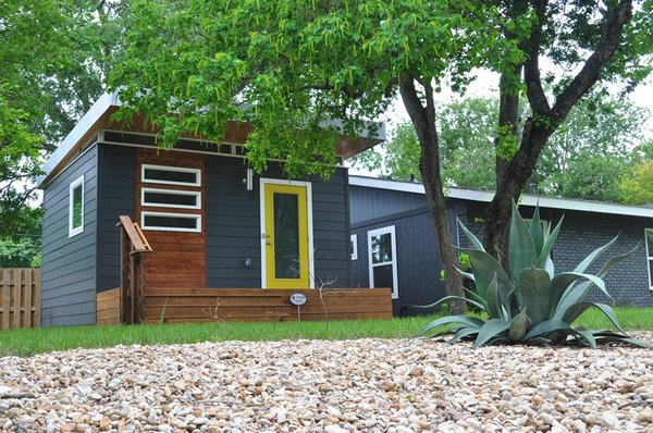 This 14-by-16-foot modern dwelling is perfect for the Austin family who uses it as a guesthouse for visitors. It's also become a good investment, as they turn it into a short-term rental during Austin's busy spring and fall tourist seasons.