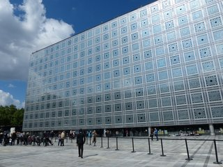 Opened in 1987, Nouvel's Institut du Monde Arabe is made up of light-sensitive apertures that are inspired by traditional oriel windows—or enclosed balconies—which are used in Islamic architecture.