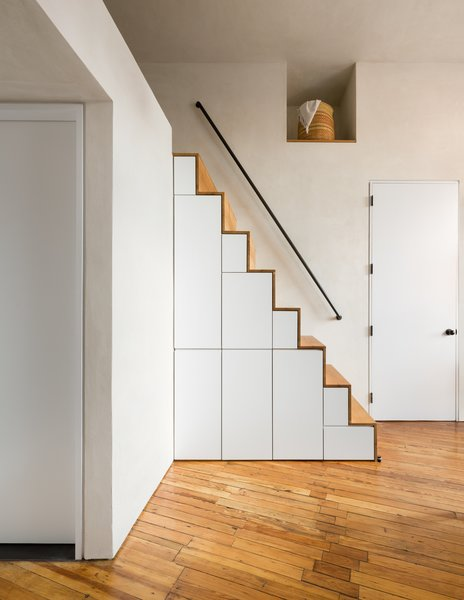 Loft stair with hidden pull-out storage