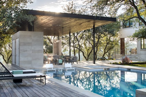 The view from Longchamp Outdoor Living's ipe pool deck. Clark Richardson Architects designed the multi-use space to be perfect all year long.