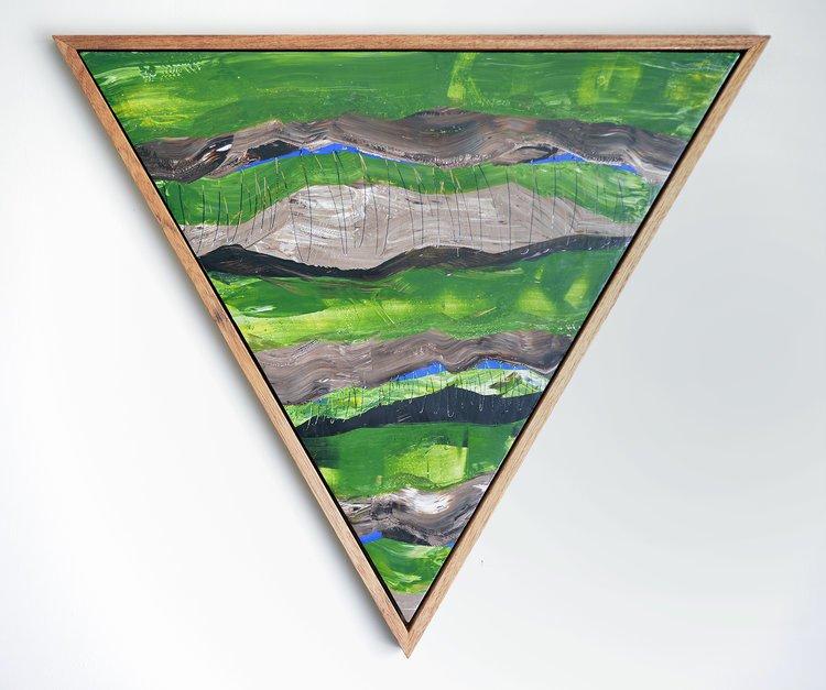 Inside-Out 753. Acrylic on canvas, handmade mahogany frame.  Inside-Out