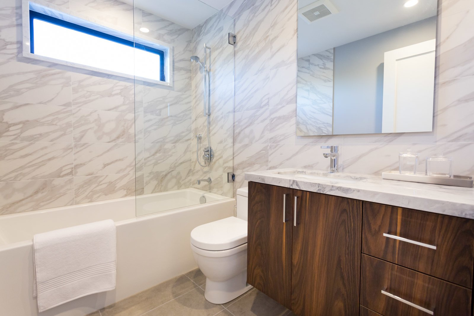 Bath, Granite, Porcelain Tile, Undermount, Drop In, Full, Ceiling, Porcelain Tile, and One Piece Bedroom  #1 Bathroom  Bath Granite Porcelain Tile Photos from The Abernathy