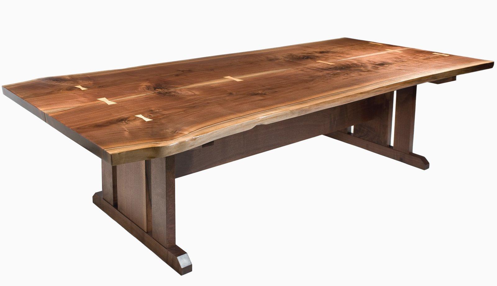 Live Edge Walnut Trestle Table  Tables