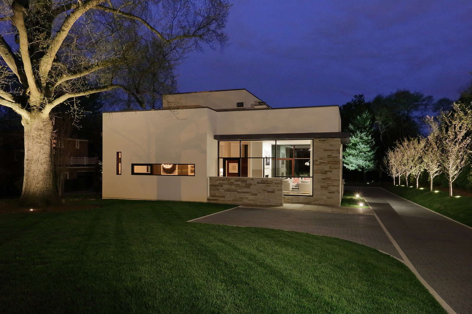 Outdoor, Trees, Front Yard, and Landscape Lighting Exterior Night  The Hearn House