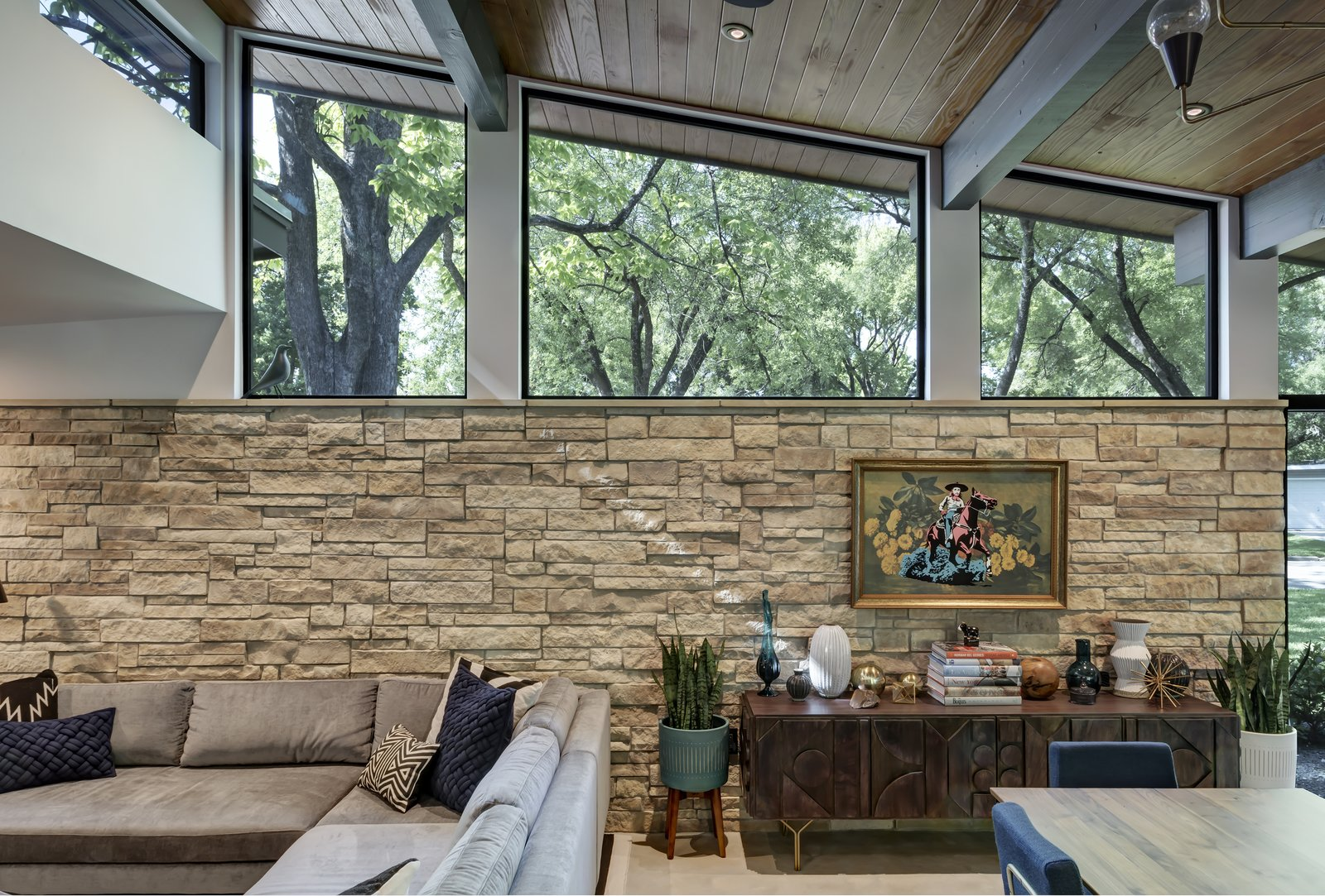 Living Room, Chair, Console Tables, Storage, Ceiling Lighting, Sofa, Concrete Floor, Recessed Lighting, and Pendant Lighting Re-Open House by Matt Fajkus Architecture | Photo by Charles Davis Smith  Re-Open House by Matt Fajkus Architecture