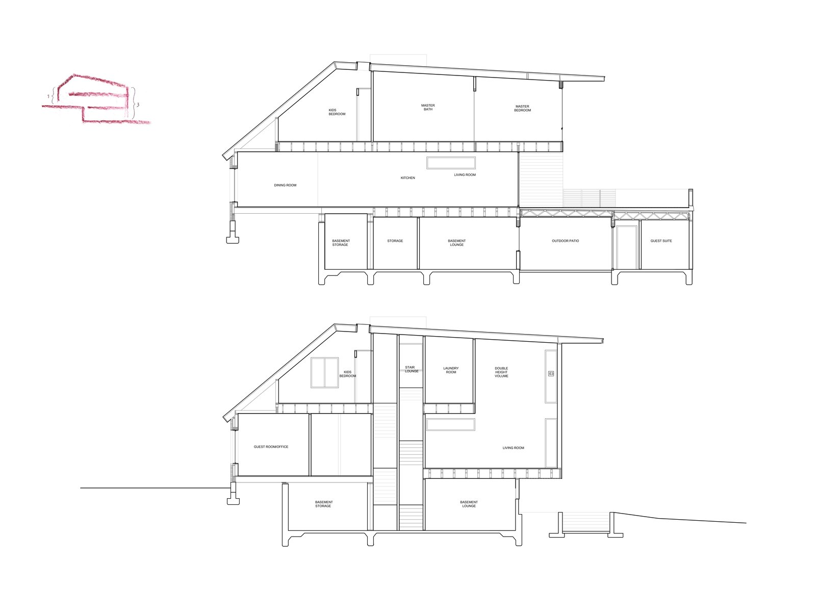 Mullet House plans in sections