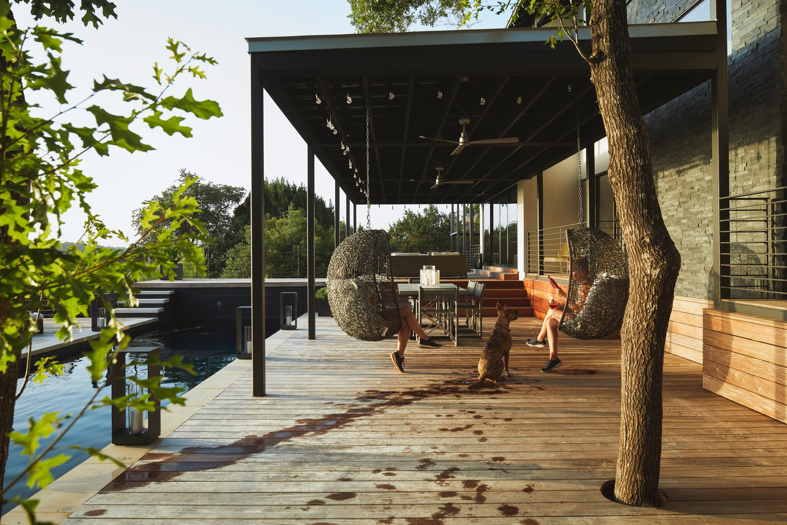 Outdoor, Wood, Back Yard, Large, Metal, Shower, Swimming, Hot Tub, Trees, Landscape, Hanging, and Horizontal Via Media Residence by Matt Fajkus Architecture | Photo by Leonid Furmansky  Outdoor Metal Swimming Photos from Via Media Residence