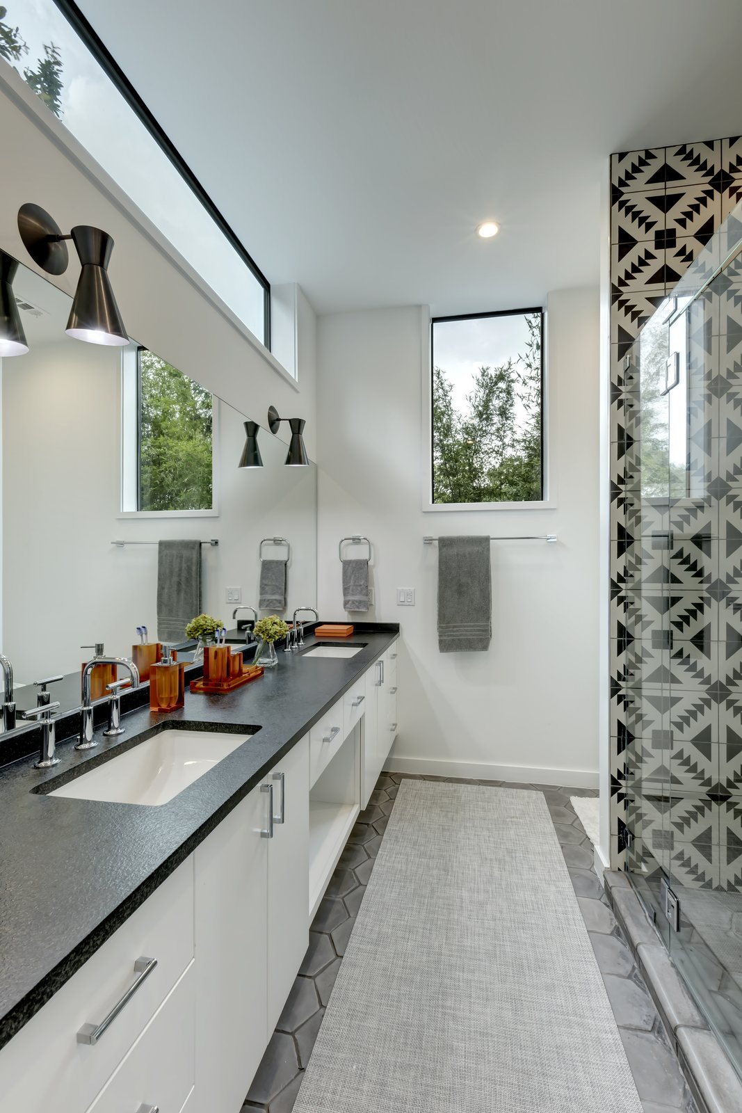 Bath, Ceramic Tile, Engineered Quartz, Enclosed, Recessed, Drop In, and One Piece Add/Subtract House by Matt Fajkus Architecture | Photo by Charles Davis Smith  Best Bath One Piece Engineered Quartz Photos from Add/Subtract House