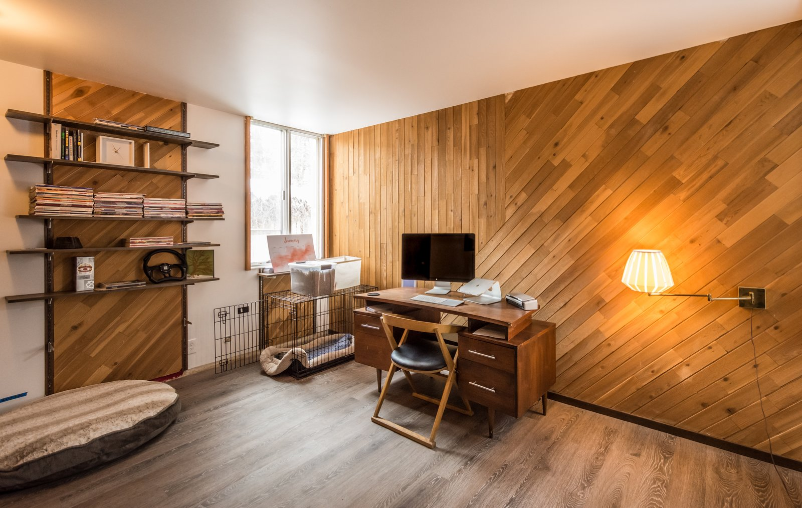 Office with original cedar wood accent wall  Ron Molen Revival