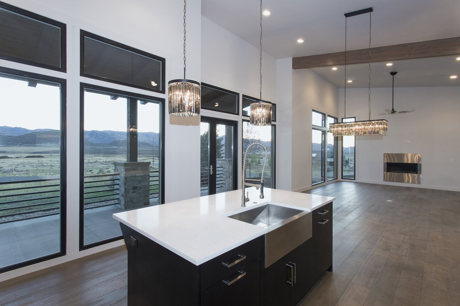 Sweeping views of ski resorts from front great room  Palisades 14