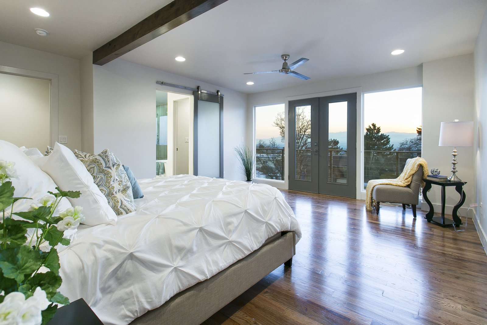 The master bedroom was thoughtfully laid out so you can take in the breathtaking views of the Salt Lake Valley each morning when you wake up.  King of the Wasatch