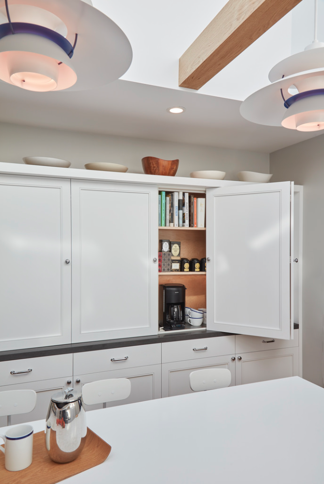 The coffee nook is self serve for starting the family morning routine with a jolt of caffeine.  A Danish Inspired Kitchen