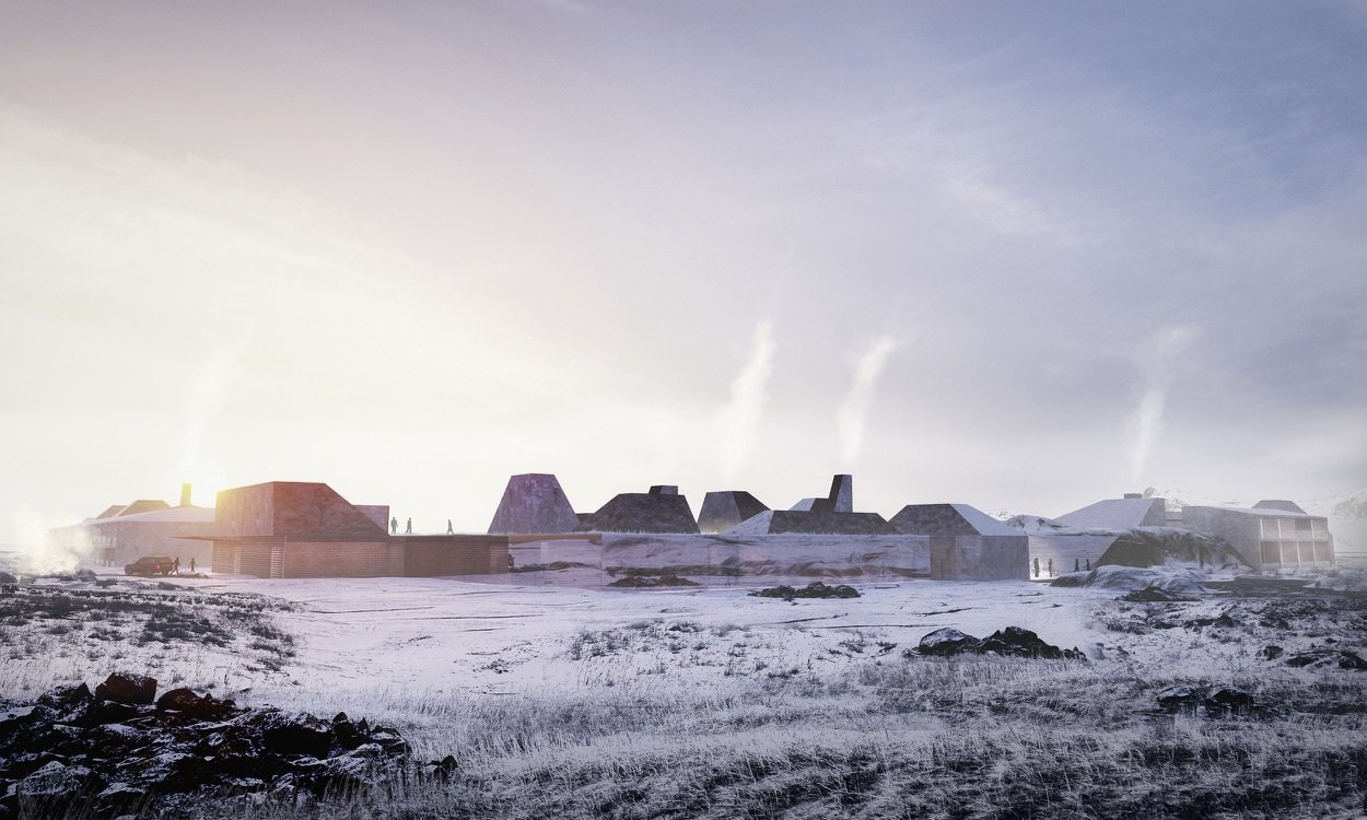 Exterior The view approaching the resort, which is almost magically revealed when up close to the complex.  Photo 2 of 18 in A Proposed Icelandic Resort Celebrates Wellness and its Magical Surroundings