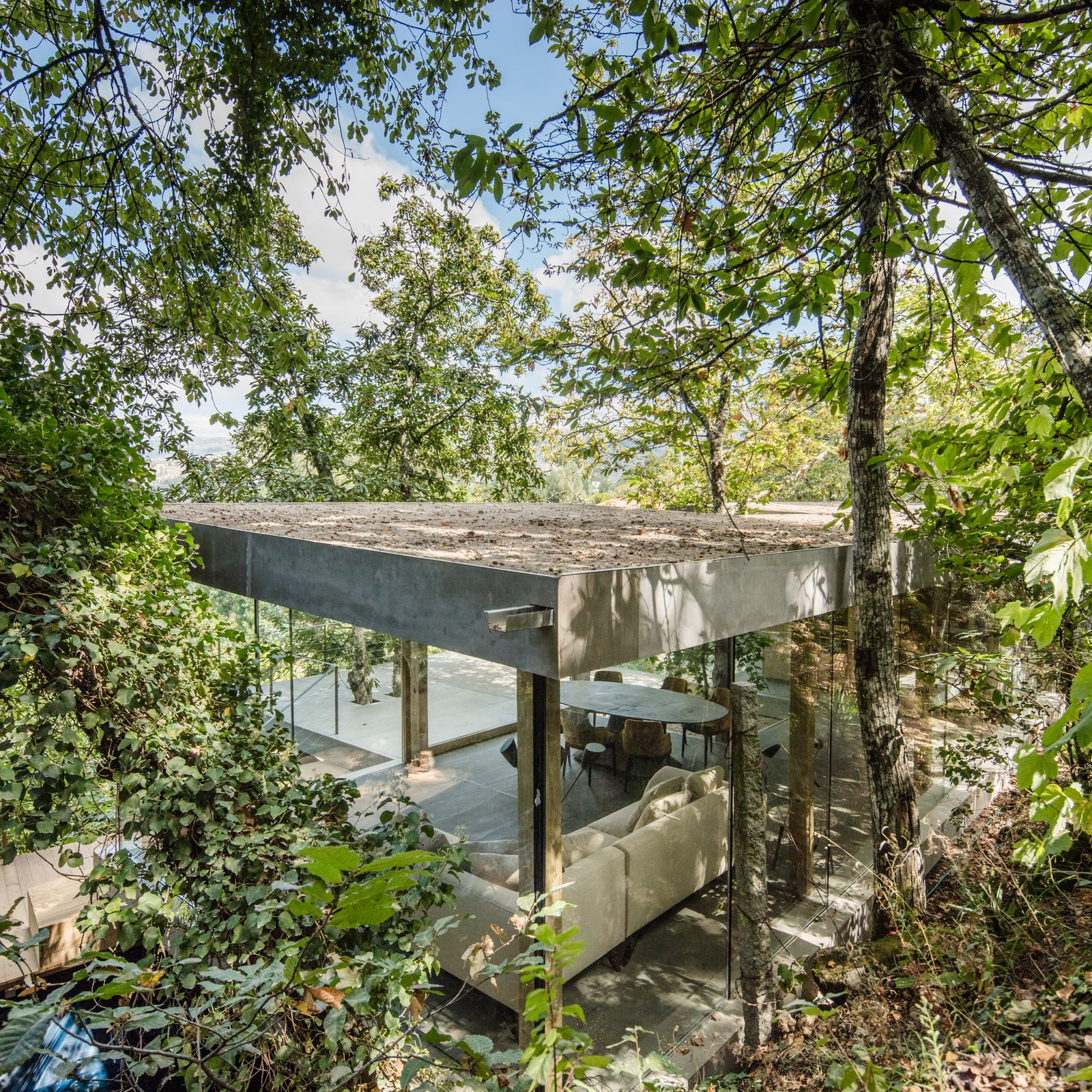 Outdoor, Trees, Hardscapes, Slope, and Shrubs The roof is the only solid element.  Photo 6 of 15 in A Portuguese Glass House Uses Surrounding Foliage as a Privacy Screen