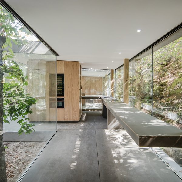 A custom kitchen with a cantilevered countertop mimics the way the house is perched on a hillside, seeming to defy gravity.
