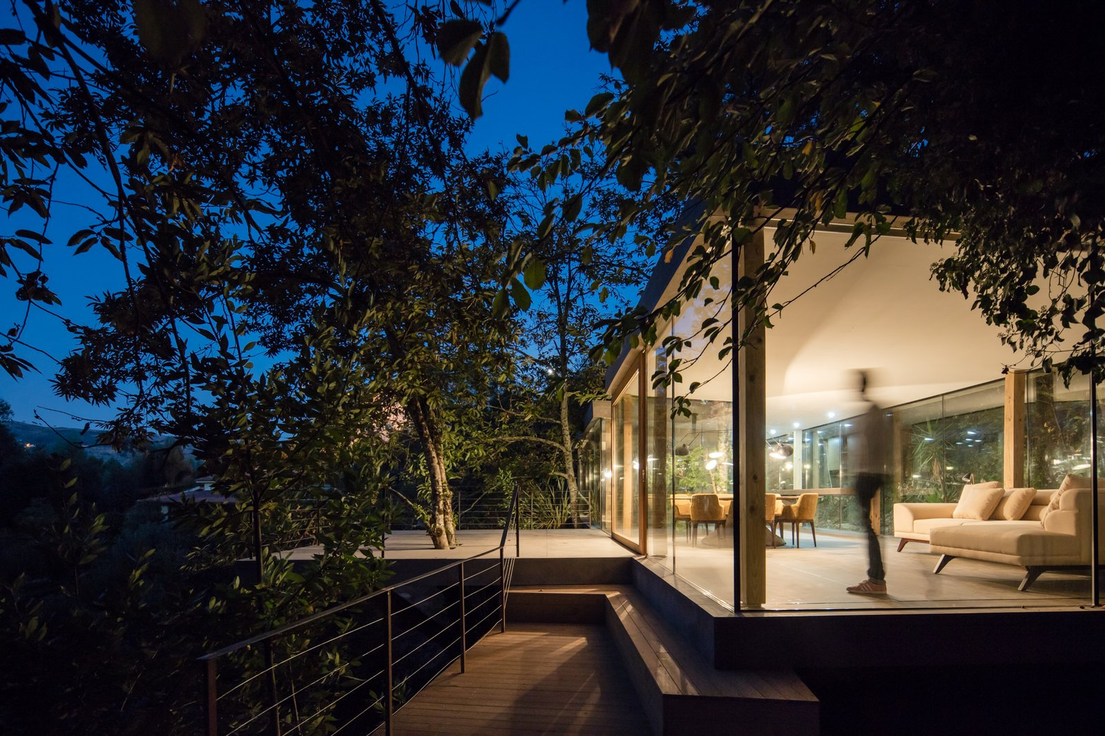 Exterior, Flat RoofLine, House Building Type, and Glass Siding Material At night, the home glows like a glass jewel box.  Photo 3 of 15 in A Portuguese Glass House Uses Surrounding Foliage as a Privacy Screen
