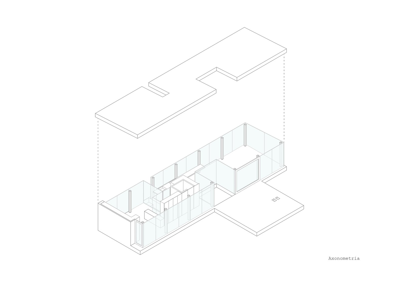 A axonometric of the project shoes its long, rectangular form with cut-outs to preserve existing trees.  Photo 14 of 15 in A Portuguese Glass House Uses Surrounding Foliage as a Privacy Screen