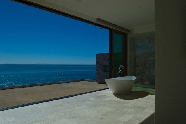 Bath Room and Freestanding Tub Rachel worked as a consultant in the design process for this ground-up remodel of a Malibu home directly on the ocean.  Photo 3 of 8 in The Psychitect Is In: How One Therapist Helps Couples Tackle Design Projects Together