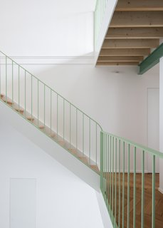 The color of the staircase brings a sense of personality to the space.