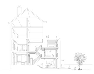 A perspective section drawing expresses the relationship between the historic front rooms facing the street and the new, triple-level renovation and addition at the rear of the townhouse.